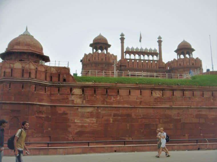 The walls of Red Fort on a hot August day. On the right side is the dais from where all prime ministers of India have addressed the nation on its Independence Day.