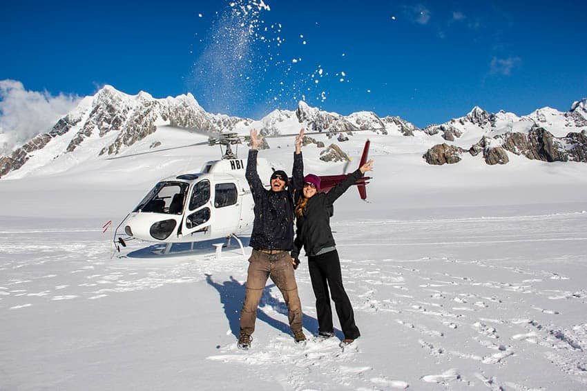 Mike & Anne Howard heli-hiking Franz Josef Glacier, New Zealand.