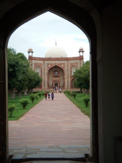 View of entrance gateway into Humayun's Tomb.