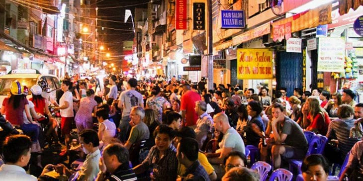 The famous backpacker street, Pham Ngu Lao Street, Ho Chi Minh City. Billie Tyler photos.