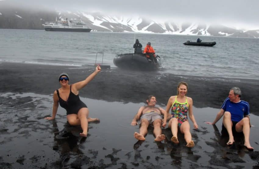 On the warm geothermal sands after 32 degree Antarctica plunge