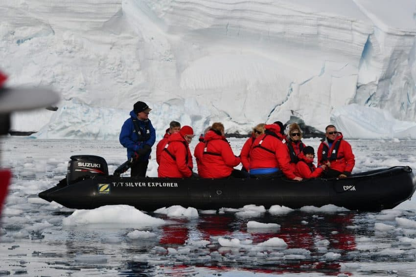 Among the glaciers in a Zodiac boat.
