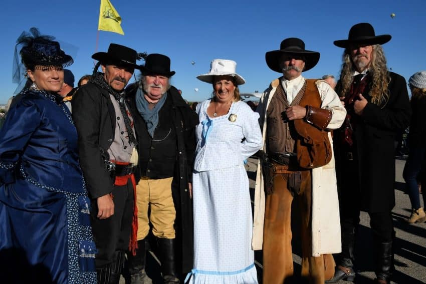 Gunslingers in costume at the Albuquerque Balloon Fiesta in October 2017.