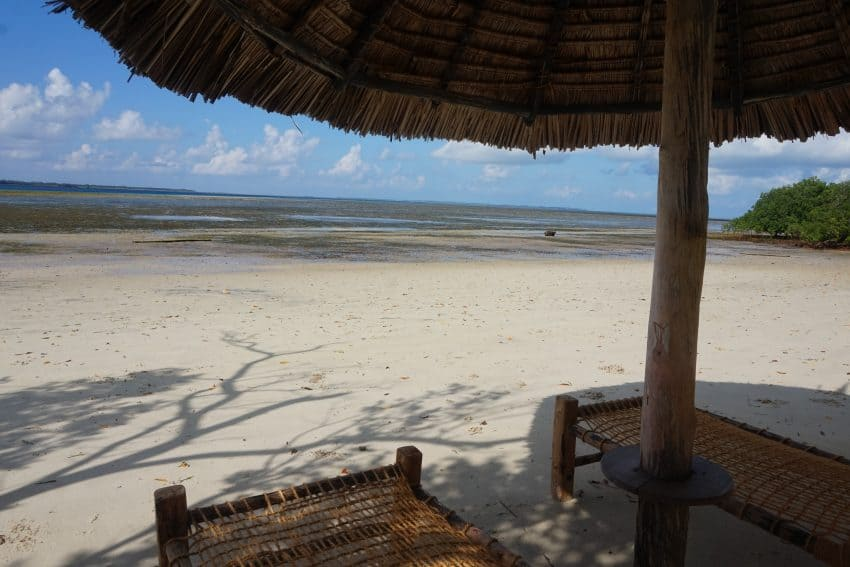 A palapa on the beach in Tanzania.