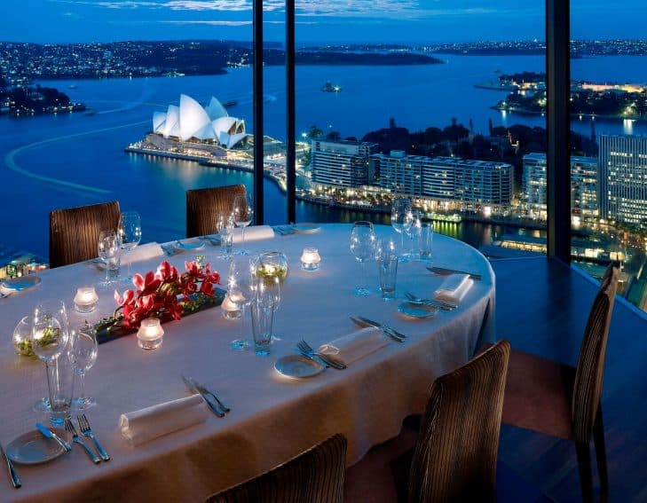Eye Popping views of the Opera House and Darling Harbor from the Shangri-La Hotel's Altitude Restaurant. Tourism Australia photos.