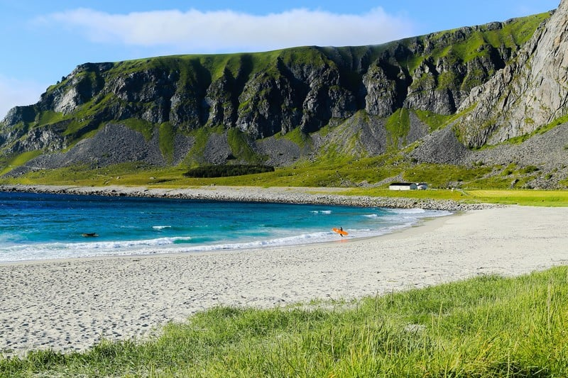 Unstad Beach - the surfers paradise, a beach with cliffs in Lofoten. Foap-Cabday Unstad photo.
