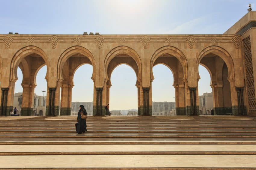 The Hassan II Mosque is the largest mosque in Morocco and one of the largest in the world.