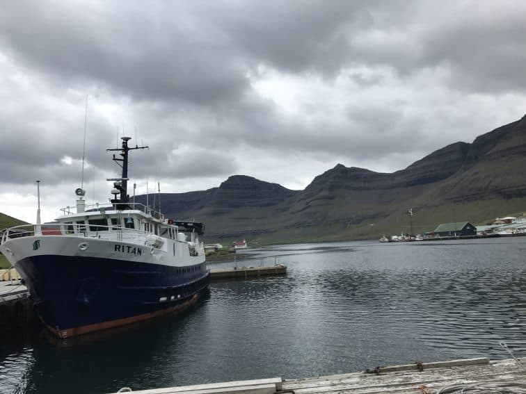 A ferry that takes passengers and freight between the Faroe Islands.