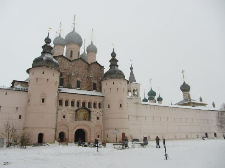 Rostov Kremlin is a fortress complex with monastery and offices inside.