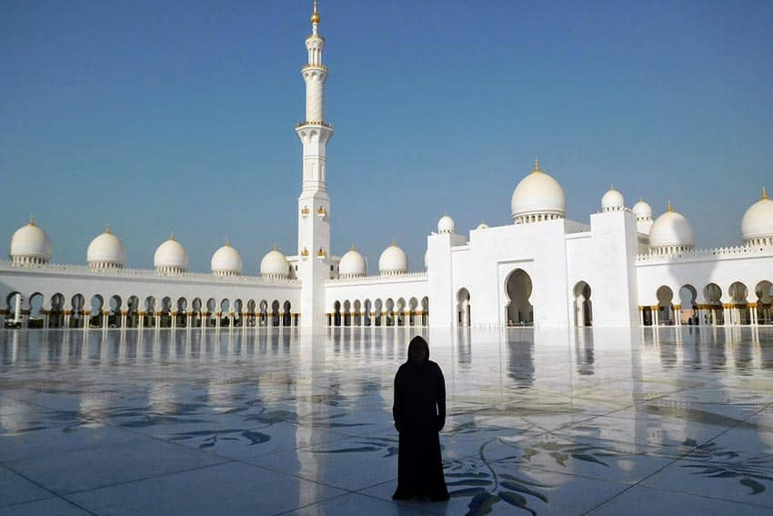 Sheikh Zayed Mosque in Abu Dhabi with author wearing an abaya.