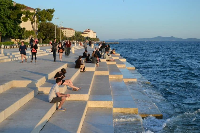 The Greeting to the Sea. Known as the sea organ, it's an architectural marvel that plays music through pipes from the movement of the waves.