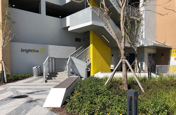 Entrance to the Palm Beach parking garage for Brightline.