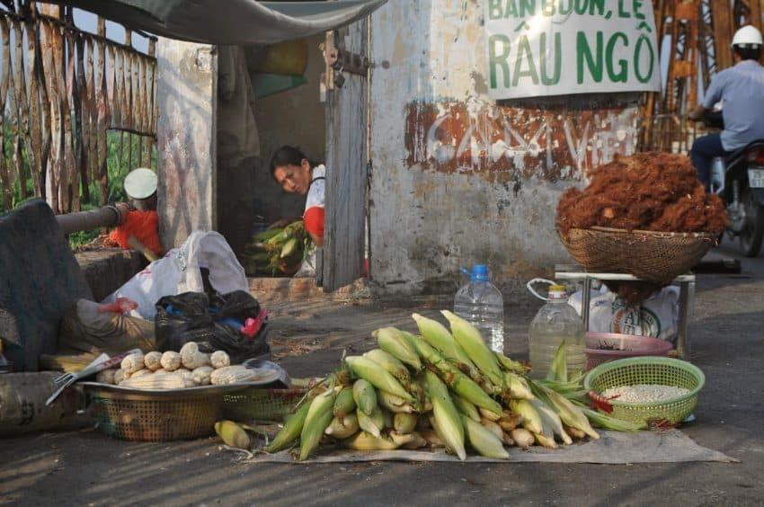 A food seller on Long Bien Bridge in Hanoi.