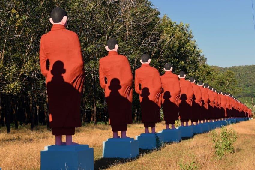 Monk statues Win Sein Taw Ya, Myanmar.