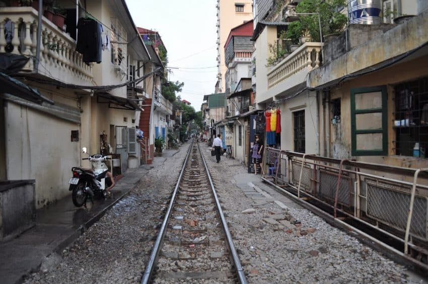 Hanoi's main railroad line, the only line in and out of the city, runs through this neighborhood.
