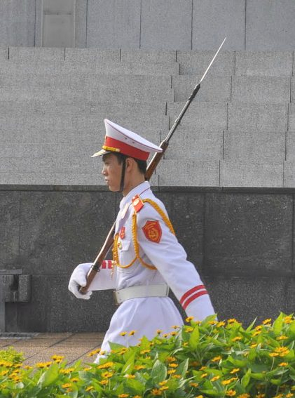A guard at the tomb of Ho Chi Minh in Hanoi.