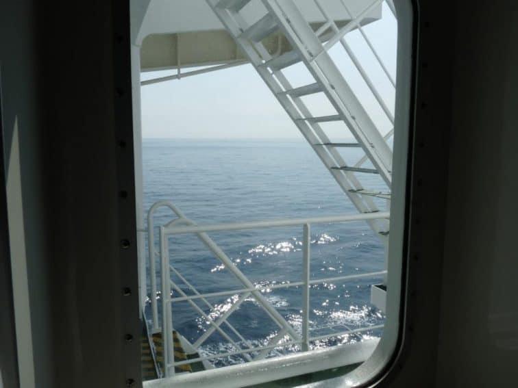 Ship stairwell.