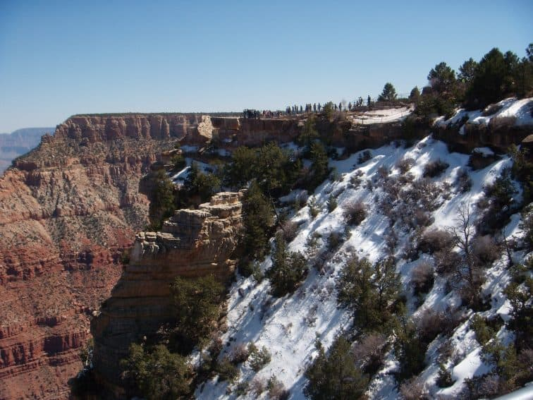 A snowy view at the canyon