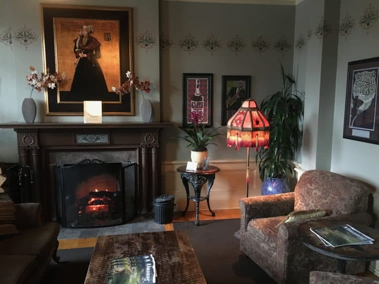 A cozy parlor in McMenamin's Grand Lodge, in Forest Grove, Oregon.