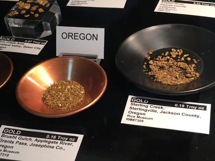 Flakes of gold mined in Oregon in the impressive collection at the Rice Northwest Museum in Hillsboro, Oregon.