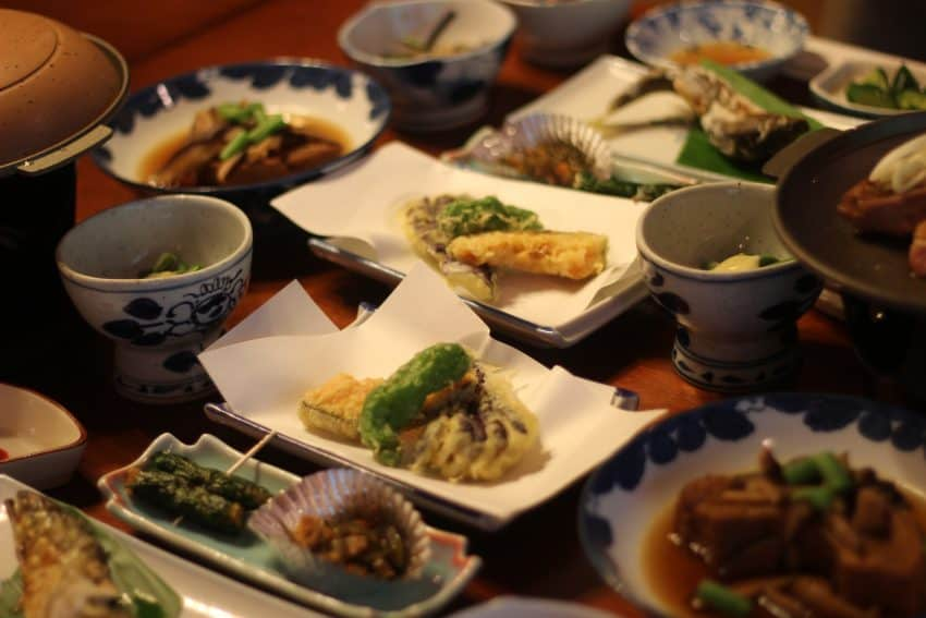 A dinner of traditional Japanese food at the Nishiyama ryokan.