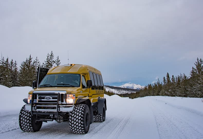 Most of the snowcoaches that operate tours in Yellowstone now feature oversized snow tires that make for a sometimes bouncy, but quiet ride.
