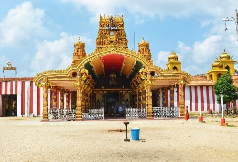 Nallur Kandaswamy Temple and it's impeccable architecture. Visitors must remove their shoes, and men their shirts as well before entering the temple.