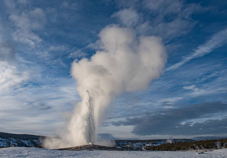 On the average, Old Faithful erupts about every 90 minutes to heights that range from 106-184 feet.