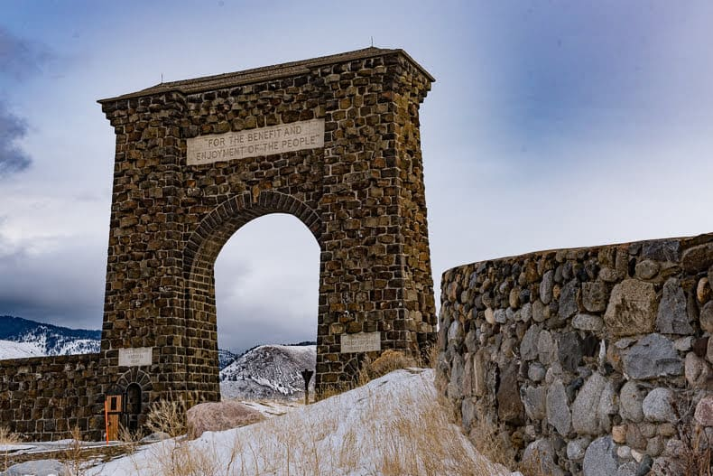 The Roosevelt Arch, entrance to Yellowstone National Park.