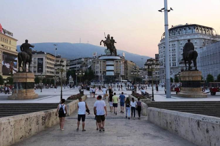 Skopje, Macedonia: The path leading from Stone Bridge to the Warrior on a Horse. Anne Marie Dimech photos