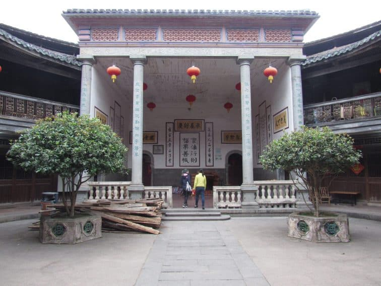 The Greek style ancestral hall in the Zhencheng Lou.