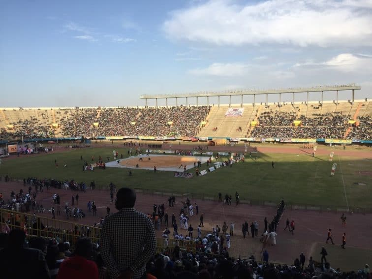 The Leopold Sedar Senghor stadium at 6pm having just taken our seats. Two hours before the main contest.