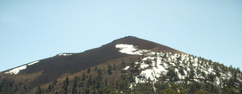 Up close look at the Sunset Crater Volcano peak.