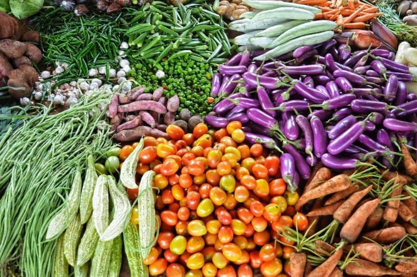 The multitude of colors at the local vegetable market in Jaffna.