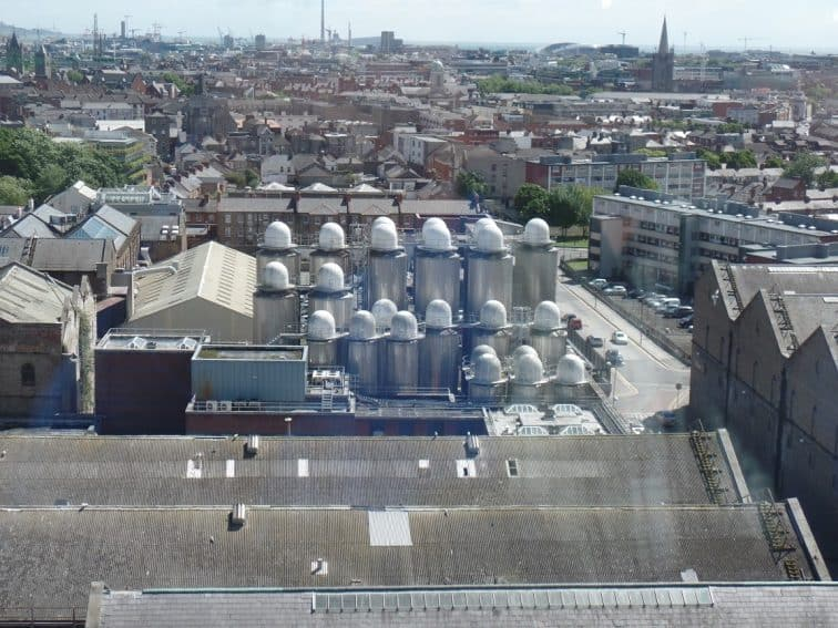 View of Brewery and Dublin from The Gravity Bar