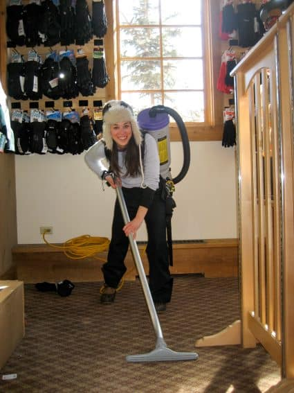 Cleaning the ski shop at a Colorado ski resort.