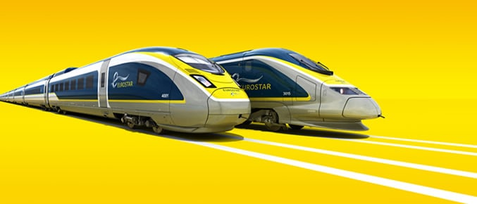 Sleek Eurostar trains await the tunnel trip from London to Amsterdam.