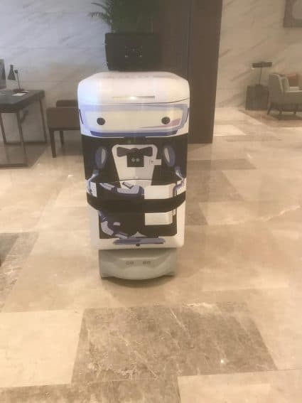 A TUG robot hard at work at a new Sheraton hotel in Los Angeles.