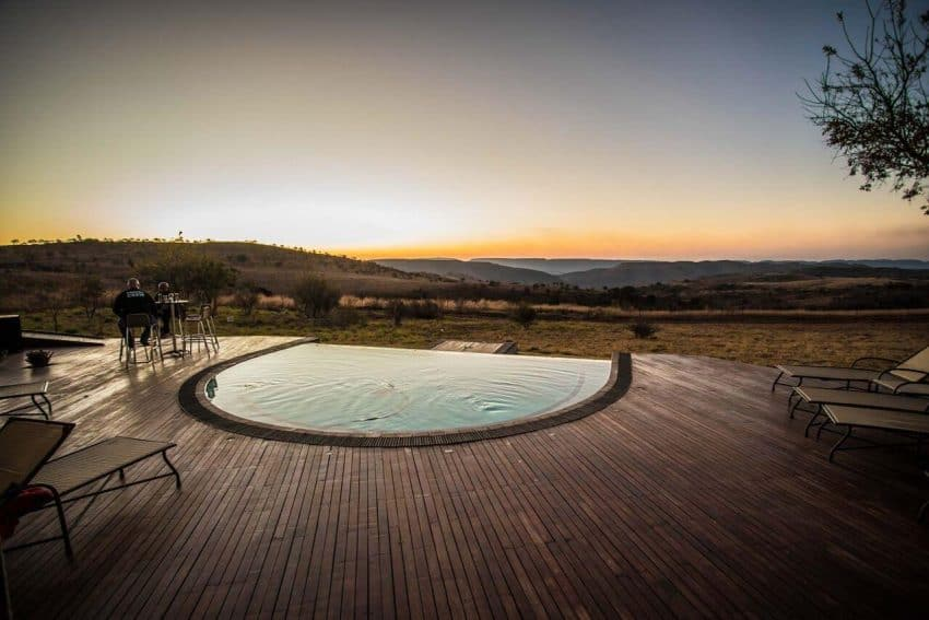Enjoy the sunset from the deck of the Maropeng Hotel.
