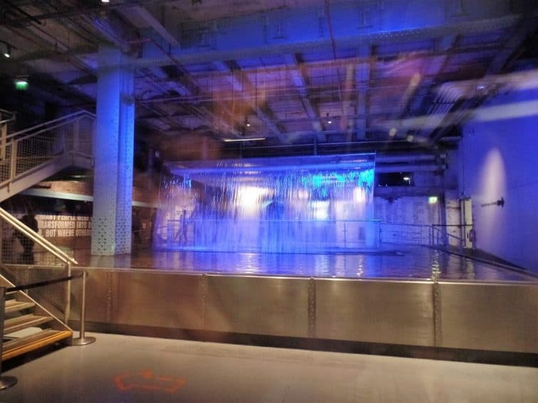 A waterfall in the Guinness Storeroom.