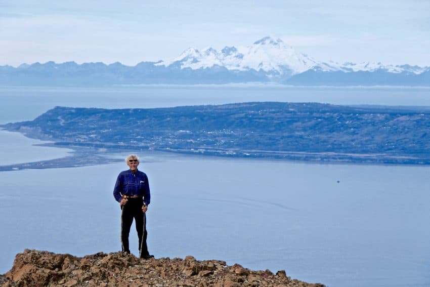 Kevin Sidelinger high above Kachemak Bay Alaska's Ridgewood Wilderness Lodge: Gateway to Adventure