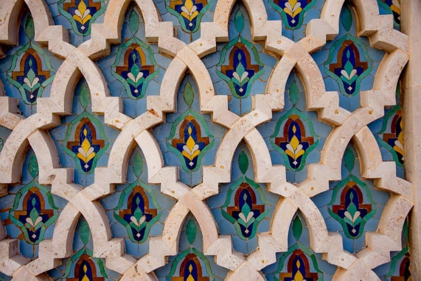 This ornate tilework is found on the walls of the Hassan II Mosque in Casablanca.  Hassan II is the second largest mosque in the world and welcomes people of all faiths to come and tour the interior.   The mosque can accommodate up to 25,000 worshipers.