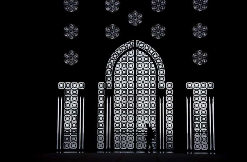 This set of windows inside  the Hassan II Mosque in Casablanca reflects how symmetry in design is one of the critical elements in Moorish architecture.  Hassan II is a relatively new mosque, with construction started in 1986 and completed in 1993.