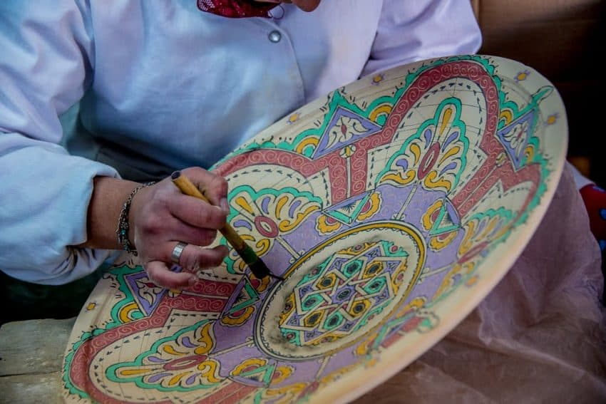 Both decorative and functional pottery is a prominent element of the craft scene in Morocco.  Fez is a hotbed for this craft, where a stop at a factory allows visitors to see the labor-intensive processes involved.  Most factories have a showroom where you can purchase the goods.