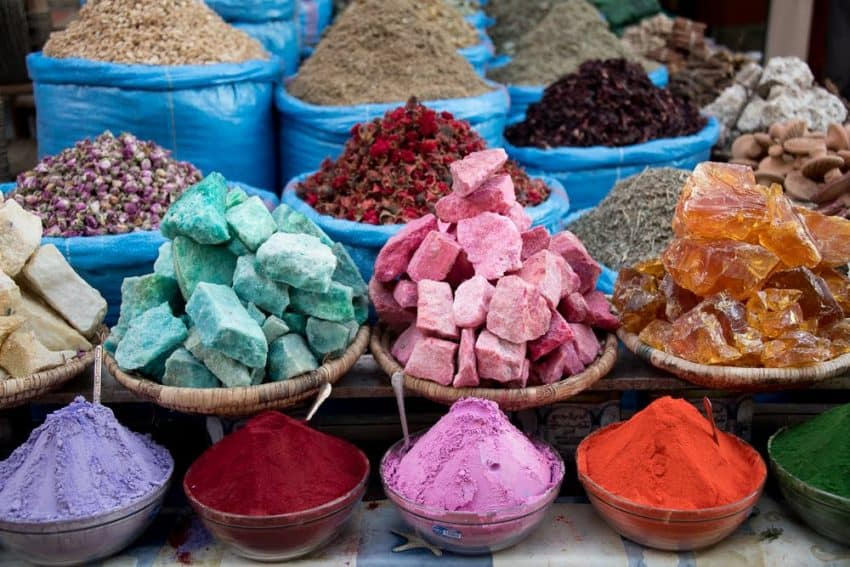 Shopkeepers in Morocco have a way of displaying in their goods in such an attractive manner that it commands curiosity, if nothing else.  This stall offers a one-stop shop for soaps, tea leaves, herbs, mushrooms, spices, henna, and beauty powders.