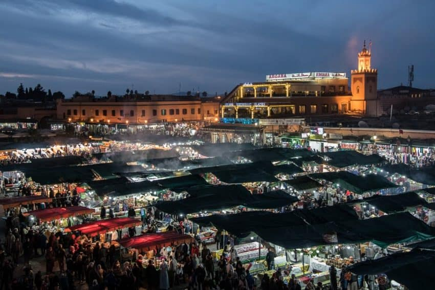 The main square of Marrakech, known as Jemaa el-Fnaa, becomes a sea of food stalls when the sun goes down. It's a bit of a chaotic scene, but if you're keen on mingling with locals, this is the place to make it happen while watching the cooks prepare your meal. A safe bet for this street food is grilled meats, cooked vegetables, and steamed clams in the souks. Donnie Sexton photos.