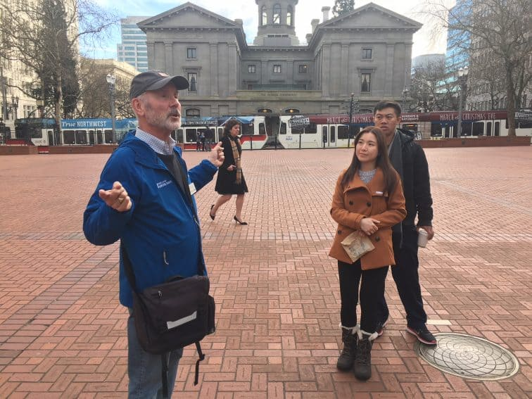 Pioneer Square, the heart of the city of Portland, was once a parking garage. Guide Richard Neuman tells us all about it.