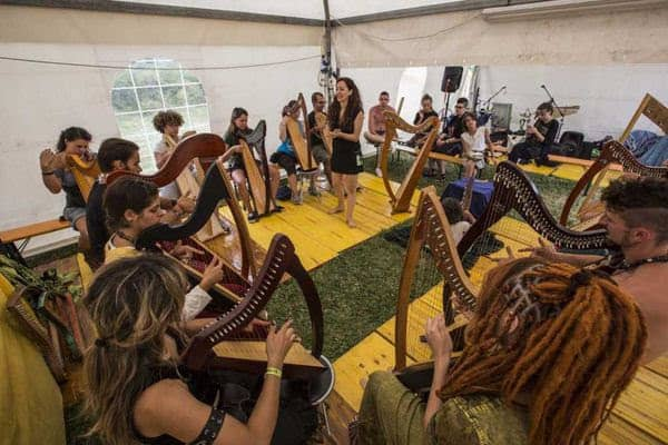 Katia Ambra Zunino leading her harp workshop at the Celtic Festival in Montelago, Italy