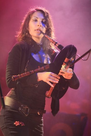 Manuela of Italian group La Corte di Lunas performs at the Celtic Festival in Montelago, Italy