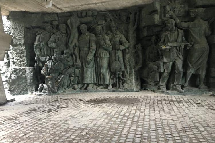 Inside the base of the Motherland statue in Kiev.